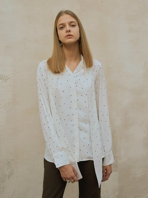 18FW DOT TIE BLOUSE IVORY