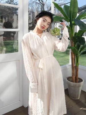 romantic shirring long dress_ivory