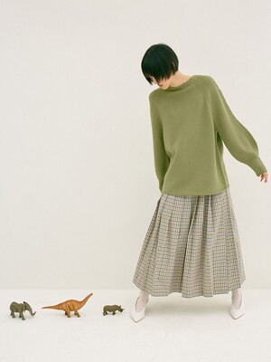 OLIVE CHUNKY WOOL VOLUME SLEEVE KNIT TOP