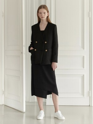 Collarless black tweed jacket