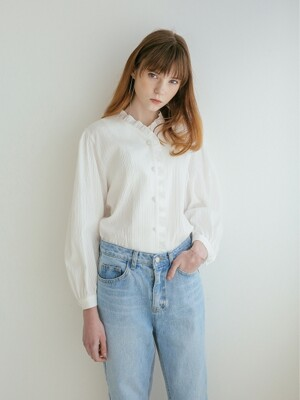 FRILL-TRIMMED BLOUSE WHITE