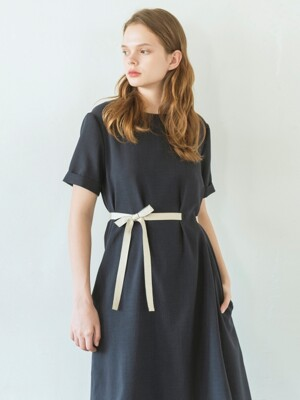 Ribbon Belted Flare Dress