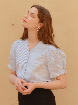 STRIPE PUFF SHIRTS_WHITE