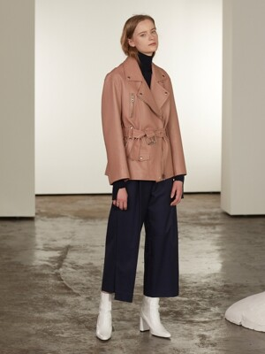 Matisse Lambs Leather Rider Jacket_Coral Beige