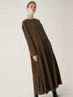 Maxi pleated one-piece - Khaki brown