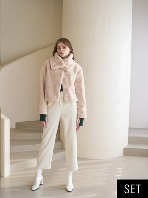 SET FUR JACKET IVORY+PANTS WHITE