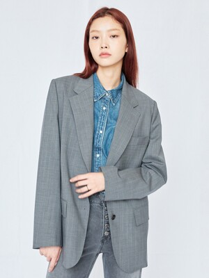 Gray Single Breasted Pin Stripe Jacket