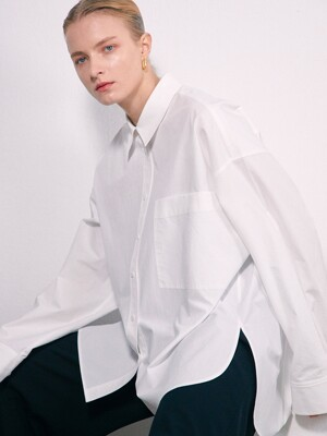 OVERSIZED BIG POCKET COTTON SHIRT - WHITE