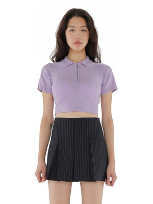 C KNITTED POLO TOP_LIGHT VIOLET