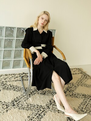 20FW COLOR COMBI DRESS/BLACK