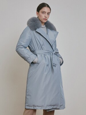 2 WAY FOX FUR TRENCH GOOSE DOWN COAT