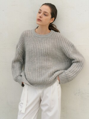 Mohair Loose-Fit Knit_L.Gray