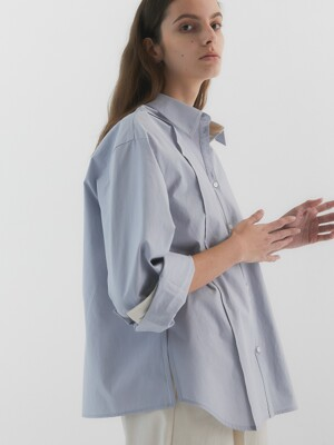 Colin Overfit Cotton Shirt_Light Blue