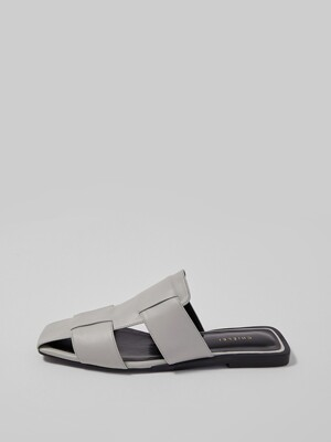 CROSS FLAT MULE [GRAY]