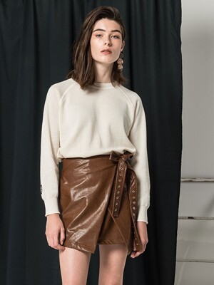 Wrap Leather Skirt (brown)