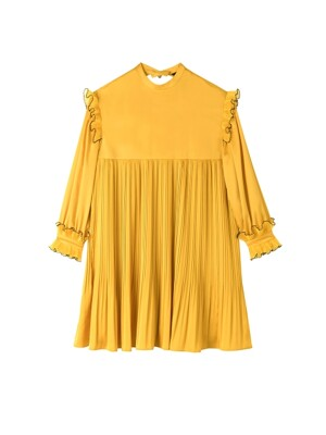 PLEATS POINT MINI HEART DRESS_YELLOW