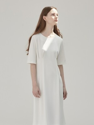 DART POINTED DRESS - IVORY