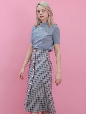 PINK CHECK BUTTON SKIRT