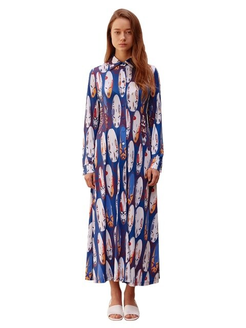 PRINTED LONG DRESS ALD001-A1