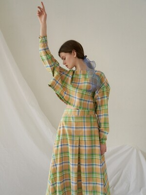 A-line wrinkle skirt_yellow check