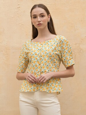 Flower Flare Blouse Yellow
