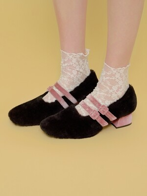 double strap fur shoes