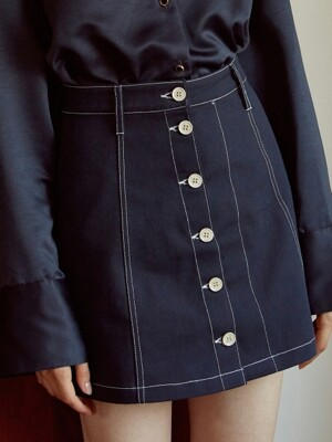 [By Joorti] J242 Stitched skirt (navy)