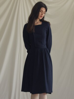 ES PLEAT DRESS(NAVY)