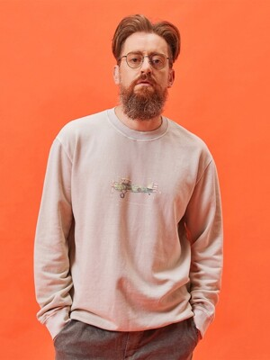 AIRPLANE PIGMENT SWEATSHIRT - BEIGE