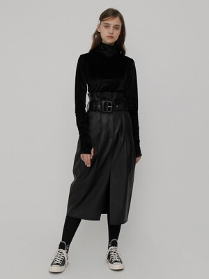 R BIG BELT ECO LEATHER SKIRT