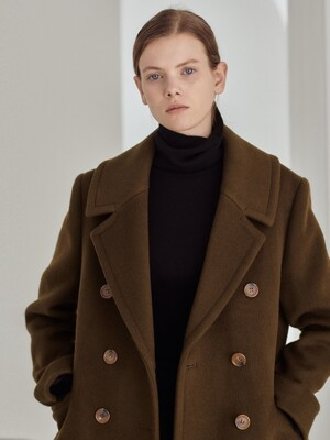 Wide-collar double long coat