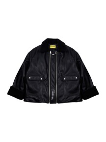 [UNISEX] Faux-Shearling and Leather Coat (Black)