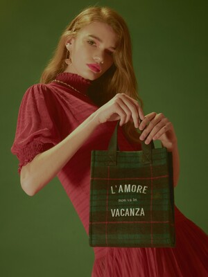 Tartan Small Tote Bag (Green)