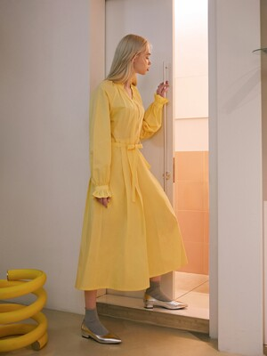 20SS 1ST SHIRRING LONG DRESS_YELLOW
