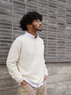 Henley Neck Knit(Off White)