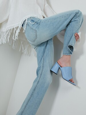 SKY BLUE LEATHER MULE