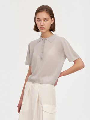 HALF PLACKET SUMMER KNIT WOMEN [GRAY]