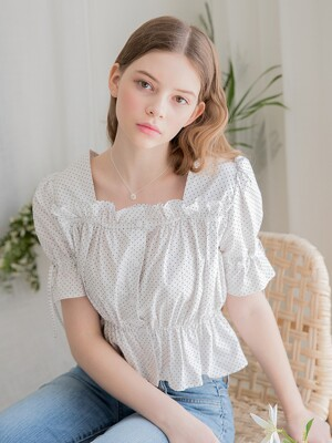Dot Frill Crop Blouse Ivory