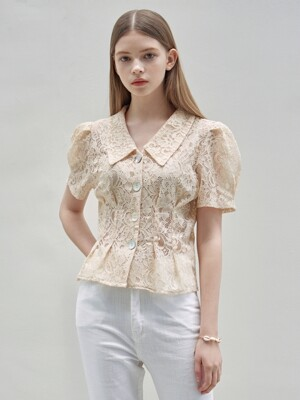 SHELL LACE PUFF BL_LIGHT BEIGE