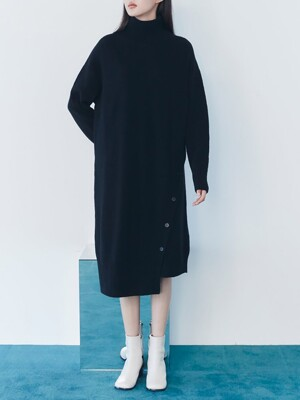 Cocoon Fit Highneck knit Dress  - Black (KE0X5UM025)