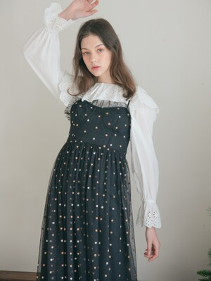 TWO-TONE DOT TULLE DRESS_BLACK
