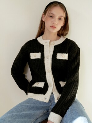 Shiny Cable Cardigan_Black