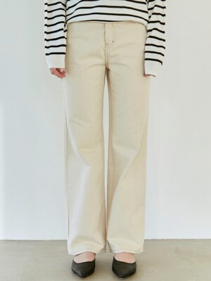ECRU WIDE COTTON PANTS_OATMEAL