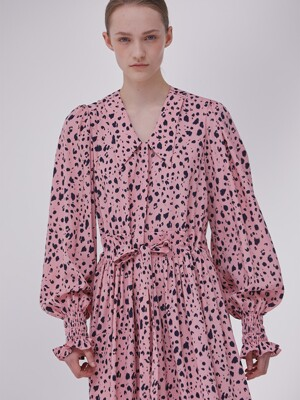 DEMERE LEOPARD PRINTED SHIRT DRESS  (PINK)