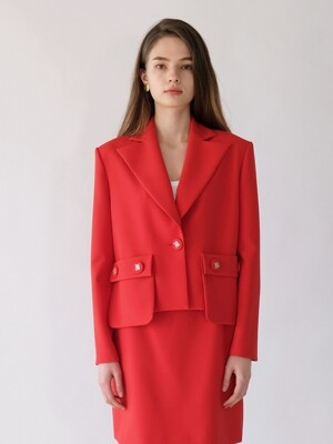 JESSIE CROP JACKET_RED