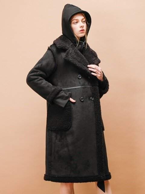 DOUBLE BUTTON MUSTANG COAT_BLACK