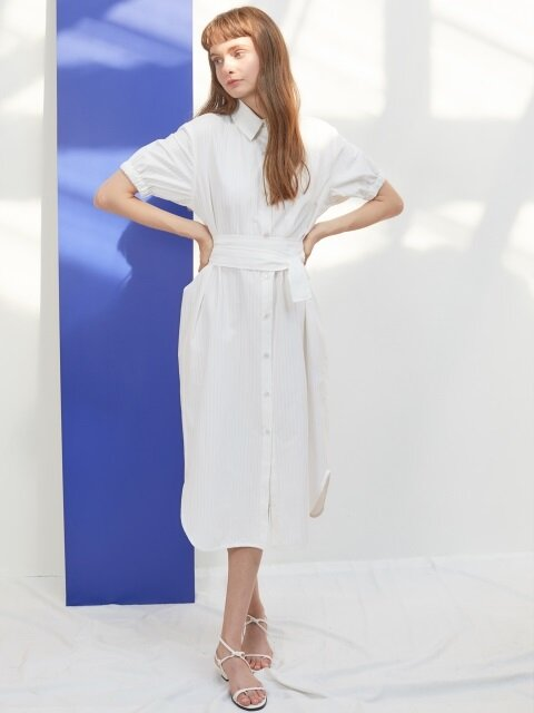 J STRIPE SHIRTS DRESS_WH