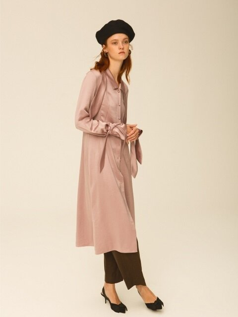 Satin Scarf Shirtdress, Pink