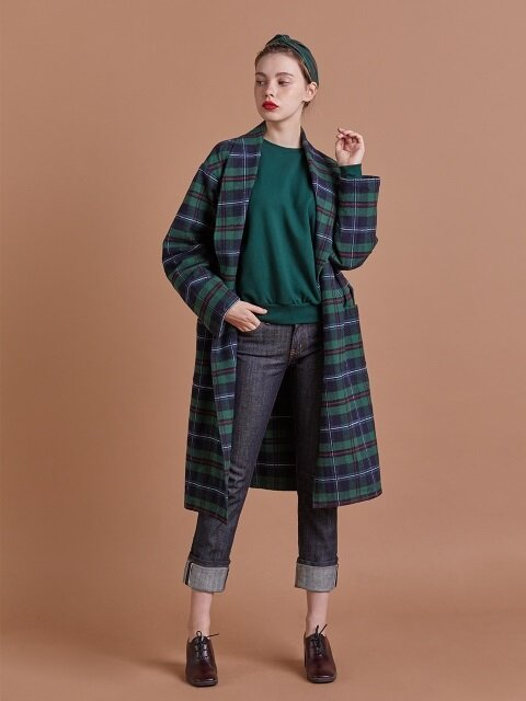 코튼 체크 로브 / COTTON CHECK ROBE_Green_W