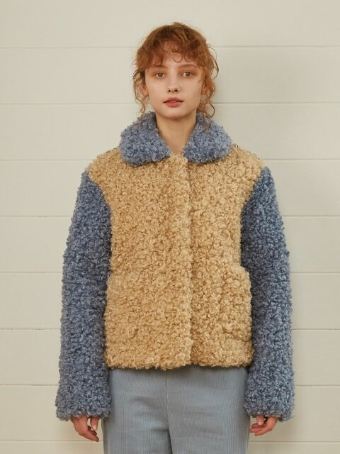 TRIPLE COLORED FUR JACKET(IVORY)